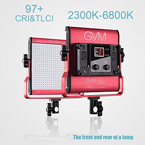 GVM Dimmable Bi-color LED Video Panel Light Variable 2300K~6800K With Digital Display For Studio. CRI97+ TLCI97 + & Brightness of 10~100% Metal Housing for Video Photography Lighting 29W by GVM