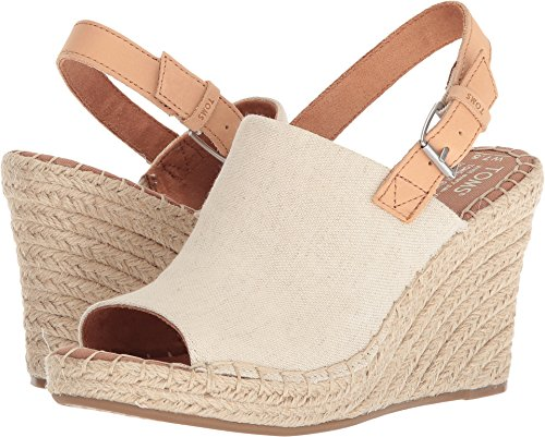 TOMS Monica Heels & Wedges Natural Hemp/Leather Womens 6 ()