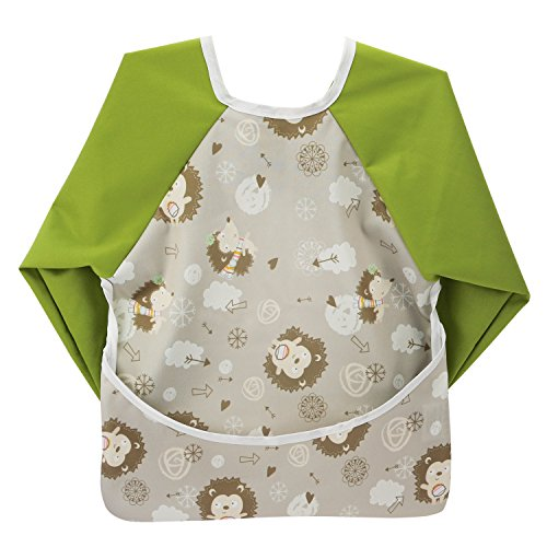 Hi Sprout Unisex Infant Toddler Baby Super Waterproof Sleeved Bib, Reusable Bib with Sleeves& Pocket, Multi Patterns, 6-24 Months (Adorable Hedgehog)