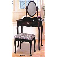 3 pc cherry finish wood vanity set with Vanity table, mirror and bench