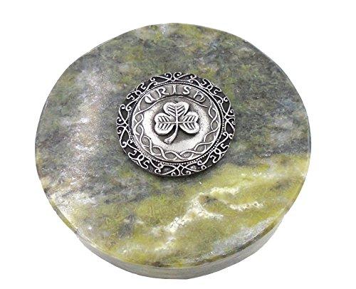 - Connemara Genuine Irish Marble/Mullingar Pewter Paperweight Shamrock