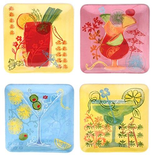 "Boston International Fruit Cocktail Square Ceramic Plates (Set of 4), 6"", Green/Pink/Blue"