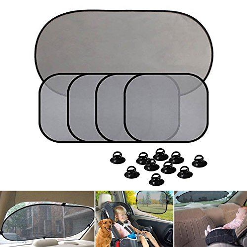 Car Windshield sun shades AUTOPDR 5pcs Universal Fit Auto Car Sun Shade for Side and Rear Window baby sun shades for Most ()