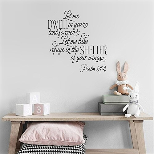 jtzwcs Wall Decal Sticker Art Mural Home Decor Let me Dwell in Your Tent Forever let me take Refuge in The shelter of Your Wings