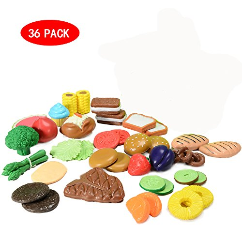 Pretend Play Food Set for Kids (36pcs), Toy Food for Pretend Play Kitchen Set with Childrens Educational Food Toys for Toddlers Inspires (Classroom Play Food Set)