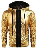 COOFANDY Mens Metallic Nightclub Style Hooded Varsity Baseball Bomber Jacket Golden&Silver&Blue