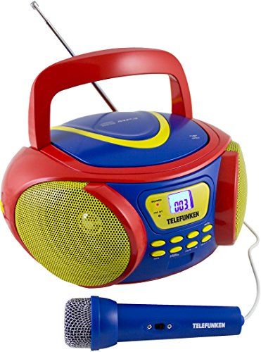 Telefunken RC1006M tragbares MP3-CD-Radio für Kinder (UKW-/MW-Stereo, CD-R/-RW, AUX-In, Mikrofonanschluss)