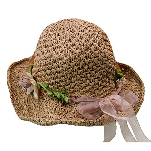 (Rebecca Women Girls Flower Garland Sun Hat Wide Brim Roll-up Crocheted Straw Hat Beach Sun Visor Cap Khaki)