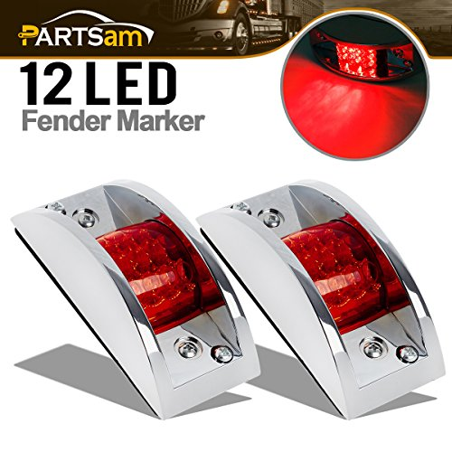 (Partsam 2pcs RED LED Marker Clearance Light Chrome Guarded Armored trailer RV Camper 12LED)