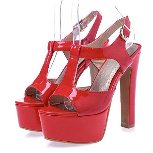 Damen Abastz Plattform Knöchel Wölbungs Pumps Schuhe Sandalen Schuhe Rot