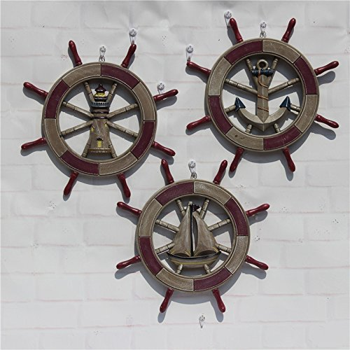 Helmsman Hanging (JY$ZB Mediterranean style 45CM antique old helmsman wall hanging boat rudder steering wheel pendant 2pcs , red sail , 43cm)