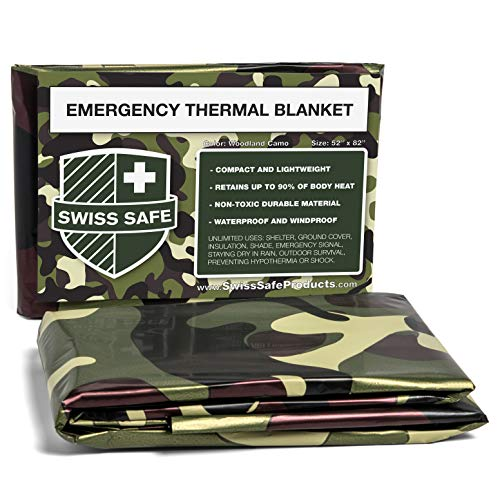 Swiss Safe Camouflage Emergency Mylar Blankets – Perfect for Outdoor Camping, Hiking, Survivalist, Shelters, Preppers, Hunting, First Aid Kit