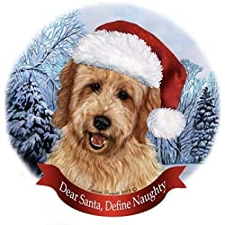 Dog in Santa Hat Porcelain Hanging Howliday Ornament (Goldendoodle)