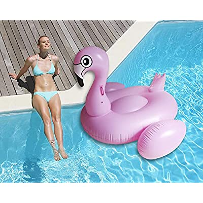 Giant Pink Inflatable Flamingo Pool Float Raft Summer Pool Lounge and Ride On for Kids and Adults: Toys & Games