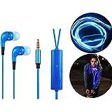 Cuffie luminose di colore blu Auricolari LED Headsets Stereo Auricolari luminosi con microfono per iOS, telefonini, iPad,computer portatile, tablet marchio PRECORN