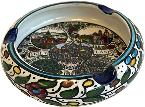 (Holy Land Market Ceramic Round Ashtray with Holy Land Major Sites - Design (6 Inches in Diameter) - Asfour Outlet Trademark)