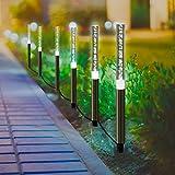 Solar Garden Tube Lights String - Sunwind Bright White Solar Powered Crystal Bubble Pathway Stick Lights Set of 6 Garden Path Lights Stakes for Patio Walkway Lawn Fence Garden Decor (Bright White)