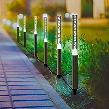 Solar Garden Tube Lights String - Bright White Solar Powered Crystal Bubble Pathway Stick Lights Set of 6 Garden Path Lights Stakes for Patio Walkway Lawn Fence Garden Decor (Bright White)