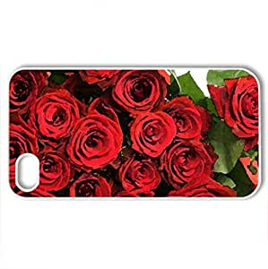 Red Roses! - Case Cover for iPhone 4 and 4s (Flowers Series, Watercolor style, White)