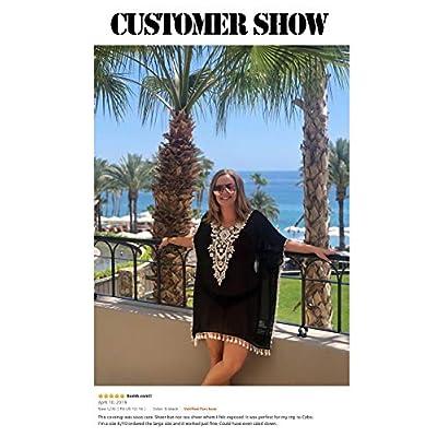 CPOKRTWSO Women's Crochet Chiffon Tassel Swimsuit Beach Bikini Cover Ups for Swimwear at Women's Clothing store