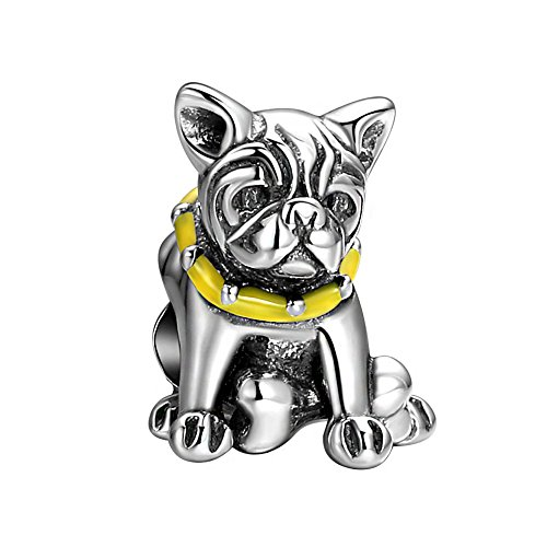 Bulldog Bracelets (SOUFEEL Bulldog Charms 925 Sterling Silver Pet Animal Bead Charm for Bracelets Necklaces Women Gifts)