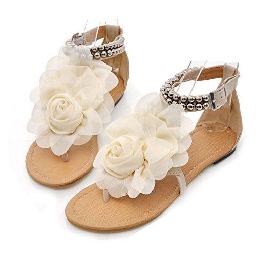 - GIY Womens Flower T-Strap Thong Flat Sandal Slip-On Flops Flip Flops Flats Sandals Beige