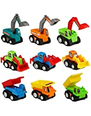 TONZE Coches de Juguetes Vehiculos Mini Excavadora, Miniature Camion Construcción Juegos para Niños Niñas de 3 4 5 Años, 9 Piezas