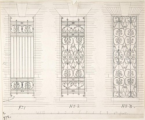Drawing | Anonymous, British, 19th Century | Design for Three Wrought Iron Window Guards | Antique Vintage Fine Art Print Reproduction 14in x 11in -