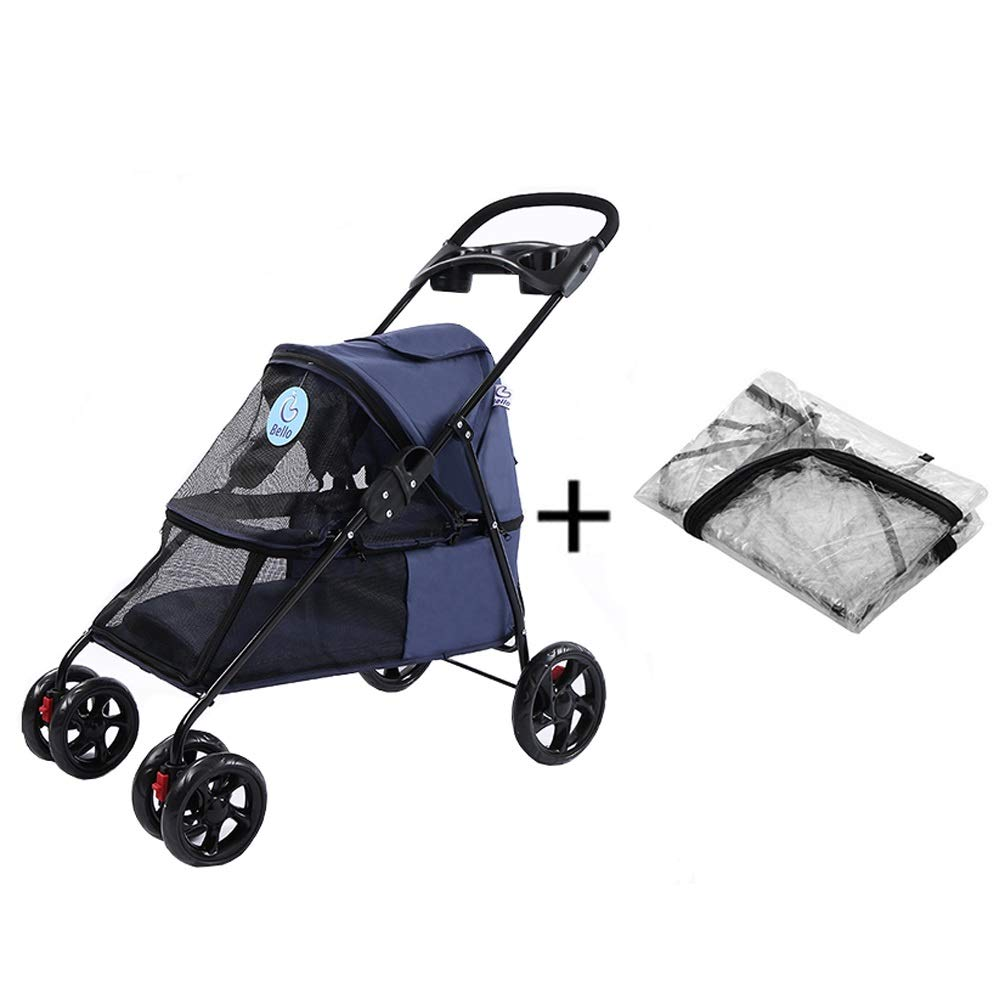 bluee Dog Pushchair, With Rain Cover Stroller Pram Carrier Pet Cat Trolley 4 Wheels Foldable Outdoor Travel Puppy Jogger (color   Pink)