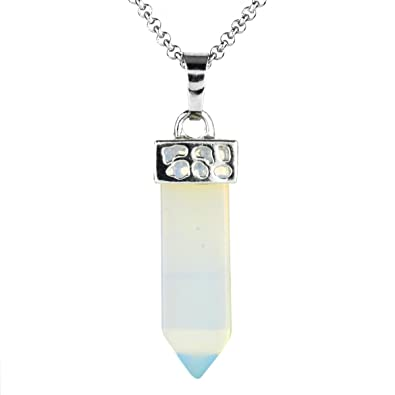 Beadnova Gemstone Necklace Healing Pointed Chakra Crystal Pendant Necklace With Gift Box Packing Stainless Steel Chain 18 Inches