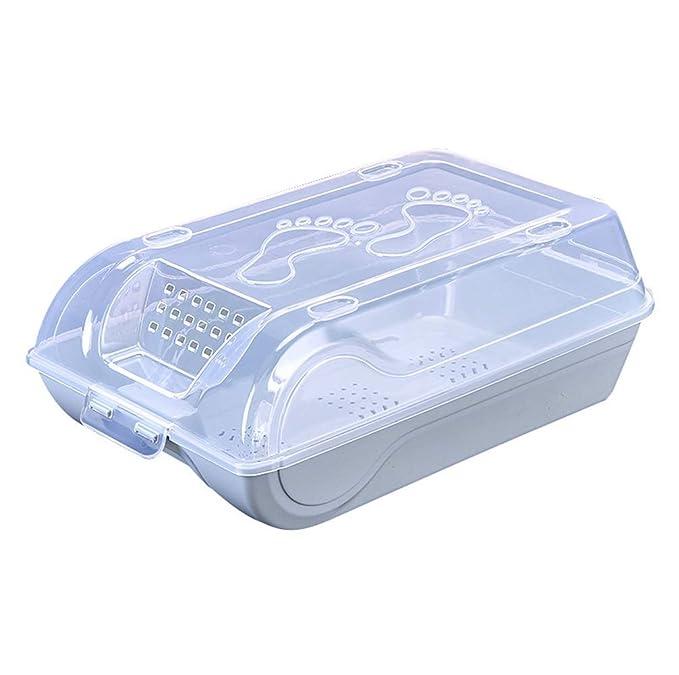 QI-shanping Juego de 3 contenedores de Almacenamiento de plástico Transparente, Cajas de Zapatos con Cerradura y manija de Orificio para ventilación, apilables, Botas, Manualidades, Cont: Amazon.es: Hogar