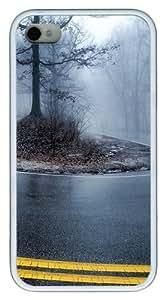 iPhone 4S Case, Foggy Road 2 Design TPU Custom iPhone 4/4S Case Cover Whtie