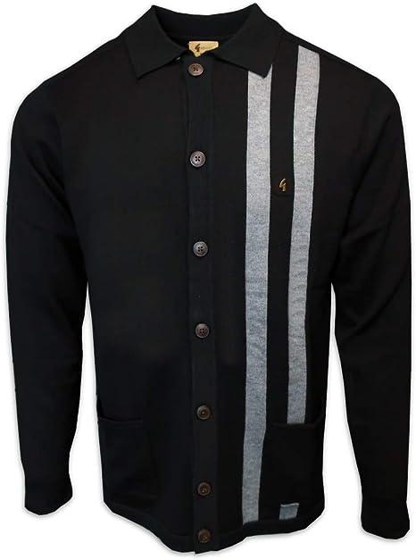 Gabicci Mens Moby 60s Stripe Button Knit Cardigan