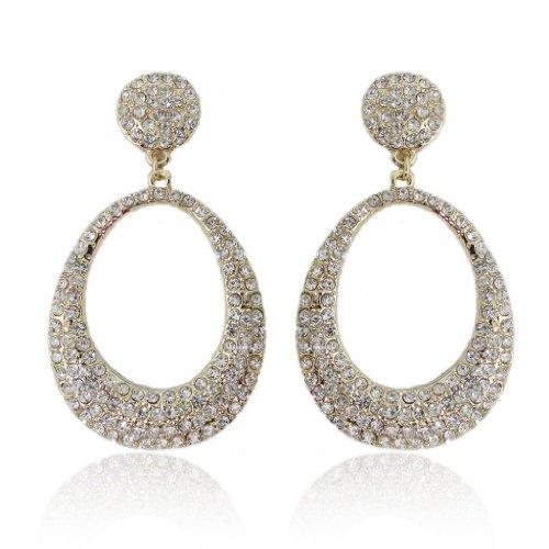 EVER FAITH Women's Austrian Crystal Party Oval-shape Circle Pierced Dangle Earrings Clear Gold-Tone Oval Shape Austrian Crystals