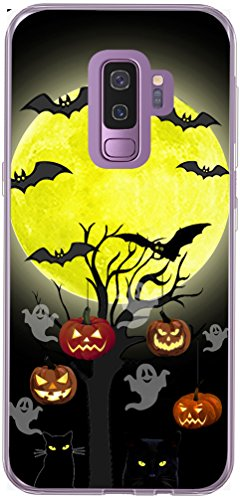 Galaxy S9 Plus Case & MUQR Slim Silicone Rubber Protective Cover Replacement Compatible for Samsung Galaxy S9 Plus & Halloween Pumpkin Cat Bat Design