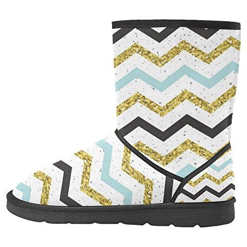 InterestPrint Womens Snow Boots Unique Designed Comfort Winter Boots Doodle Lines Multi 1 RakxN4