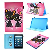 Fire HD 10 Case,Chgdss Cartoon Cute Case, Smart Cover Flip Leather Case with Stand Feature Cover, for All-New Amazon Kindle Fire HD 10.1'' Tablet (7th Generation, 2017 Release), Black cat
