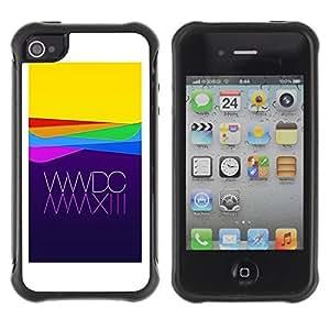 Híbridos estuche rígido plástico de protección con soporte para el Apple iPhone 4 / 4S - apple purple yellow waves technology