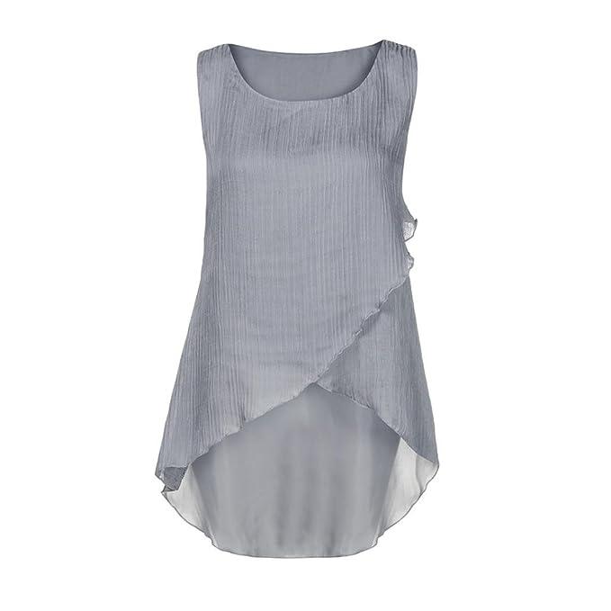 Blusas Para Mujer Rawdah Camiseta De Chifón con Volantes De Mujer Camiseta Sin Mangas Casual Tops