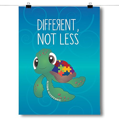 Inspired Posters Different Not Less - Autism Awareness Turtle Poster Size 8x10