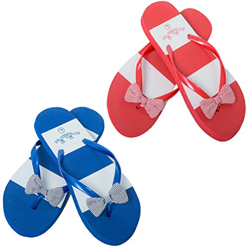 Chanclas Mujer Para playa y Piscina Rayas Naúticas Airee Fairee Azul EU 38-39 Rayas Azul y Rojo