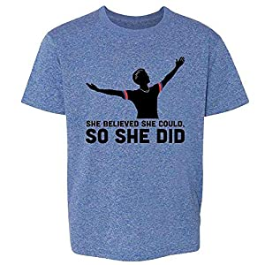 Pop Threads She Believed She Could So She Did USA Soccer Heather Royal Blue M Youth Kids Girl Boy T-Shirt
