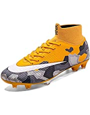 ZMYC Men Soccer Boots, High Top Soccer Training Shoes Breathable Lightweight Wear Resistant Outdoor Fashion Football Boots Sneakers (Color : Yellow, Size : 45)