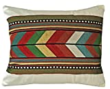 Carstens Southwest Native Stripe Embroidered Chain Stitch Decorative Pillow Cover, Multicolor