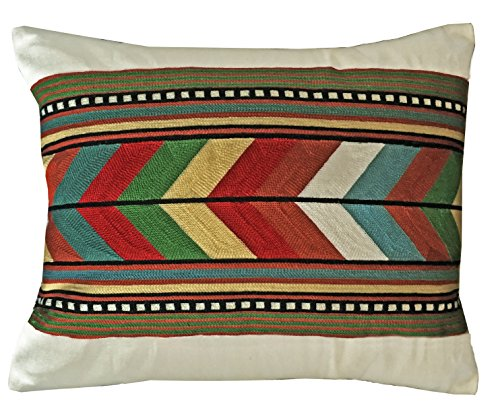 Carstens Southwest Native Stripe Embroidered Chain Stitch Decorative Pillow Cover, Multicolor by Carstens