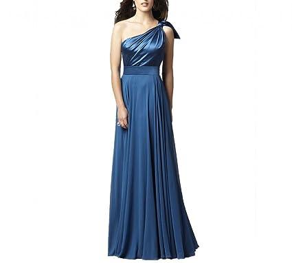 d25f0362e1e27 Dearta Women's Sheath One-Shoulder Floor-Length Chiffon Bridesmaid Dresses  at Amazon Women's Clothing store:
