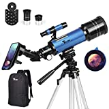 TELMU Telescope, 70mm Aperture 400mm AZ Mount Astronomical Refractor Telescope for Kids Beginners - Portable Travel Telescope with Carry Bag, Phone Adapter for Any Model