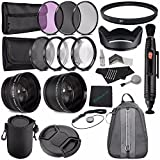67mm 2x Telephoto Lens with pouch + 67mm Wide Angle Lens + 67mm 3 Piece Filter Set (UV, CPL, FL) + LENS CAP 67MM + 67mm Multicoated UV Filter + 67mm Lens Hood + Lens Cap Keeper + Cleaning Cloth Bundle