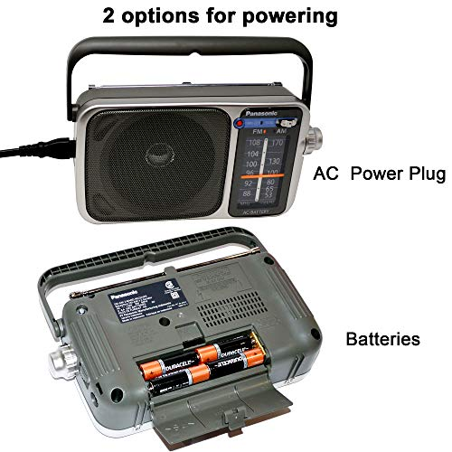 Panasonic Portable AM/FM Radio with Great Reception, Led Tuning Indicator, Compact Size + 4 AA Batteries + HeroFiber Ultra Gentle Cleaning Cloth