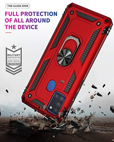 +3D Tempered Glass Screen Protectors//Cover 360 full body Military-Grade anti-drop Bumper Protective Mobile Case with Kickstand-Blue XJZ Compatible with Samsung Galaxy A21S Smartphone Case 2020